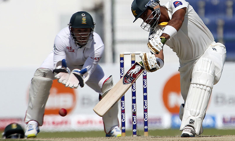 Manzoor notched a maiden hundred to help Pakistan take an upper hand in the first Test. -Photo by AFP