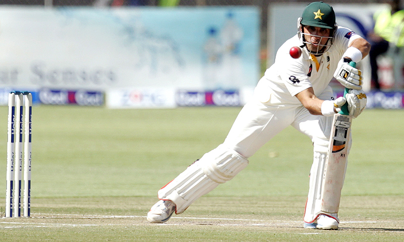 Misbah-ul-Haq's first Test century in over two years helped the home team reach 442 and a formidable 193-run first-innings lead. -File photo