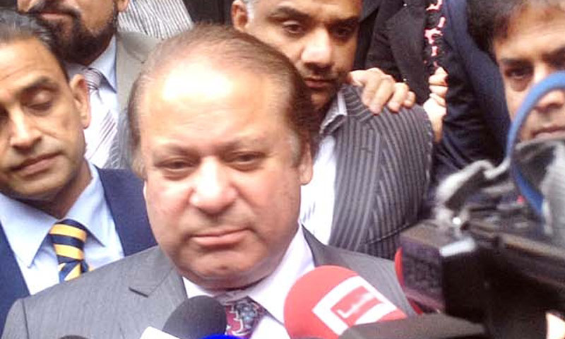 Prime Minister Nawaz Sharif speaking to the media after reaching London. -APP Photo