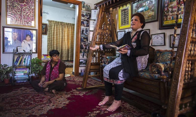 Pakistani Police Inspector Shazadi Gillani (R) and Police Head Constable Rizwana Zafar are pictured during an interview with Reuters at their house in Abbottabad September 18, 2013. — Photo by Reuters