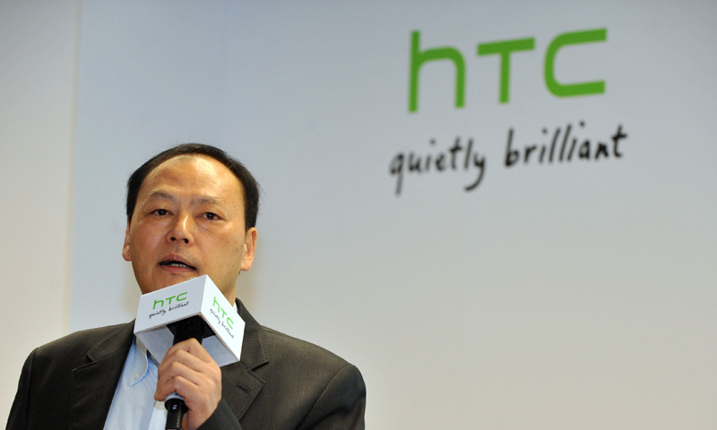 HTC CEO Peter Chou speaks during a press conference on the company's 2013 corporate image advertising in New Taipei City on December 31, 2012. — AFP (File Photo)