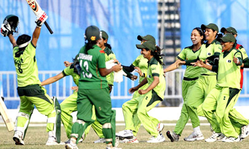 Pakistani women cricketers celebrate during an international match. – File Photo
