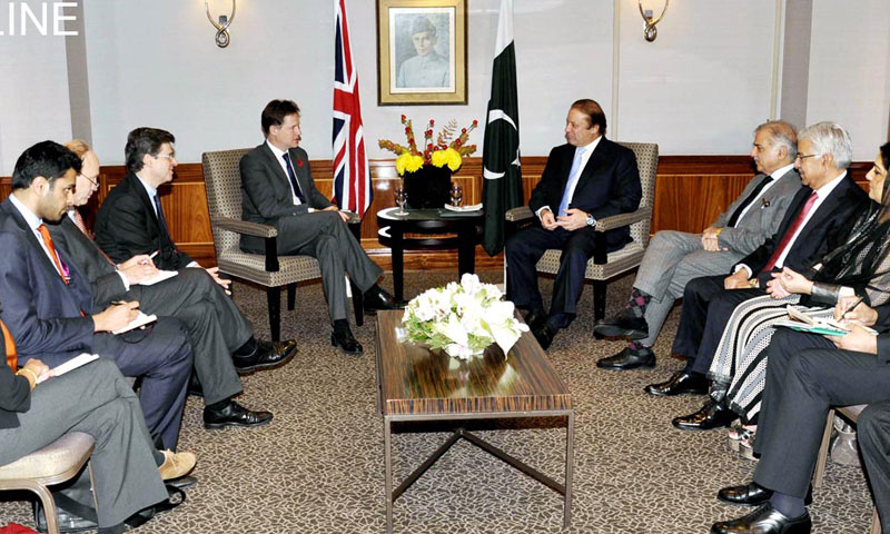 Prime Minister Nawaz Sharif meets with British Deputy Prime Minister Nick Clegg along with their delegations in London on Thursday. – Photo by Online