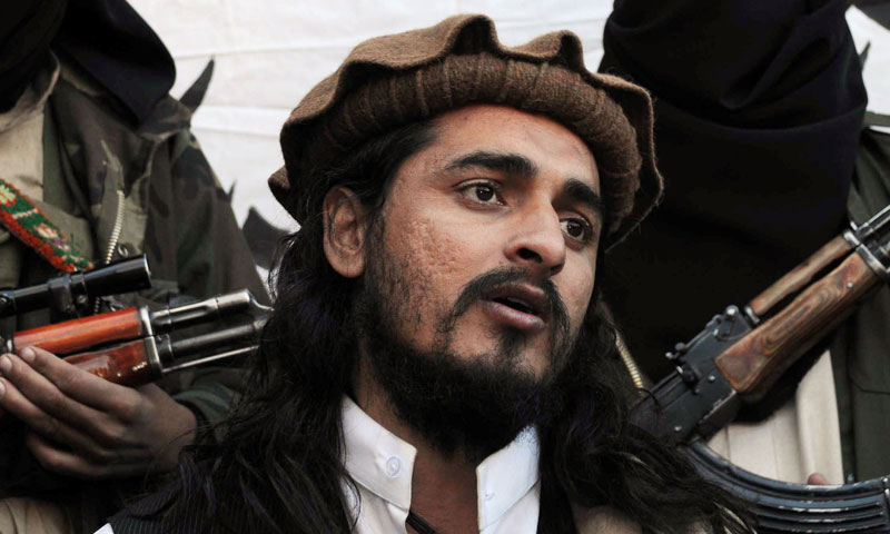 This file photograph taken on Nov 26, 2008, shows Pakistani Taliban commander Hakimullah Mehsud speaking to a group of media representatives. — AFP Photo