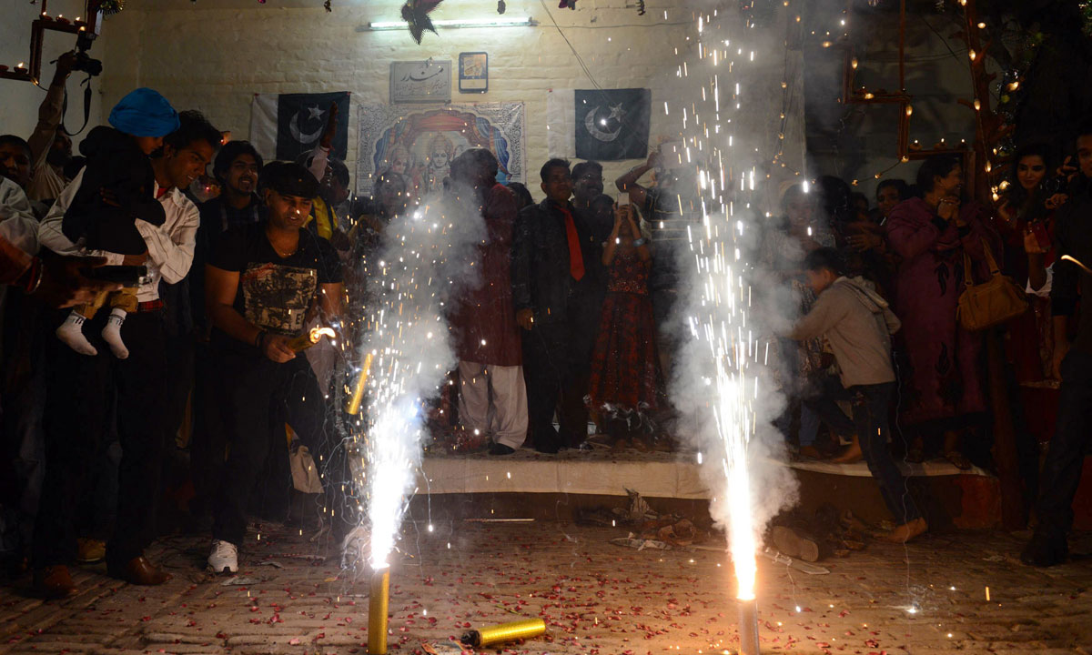 Pakistani Hindus celebrate Diwali with fireworks in Lahore. – Photo by AFP
