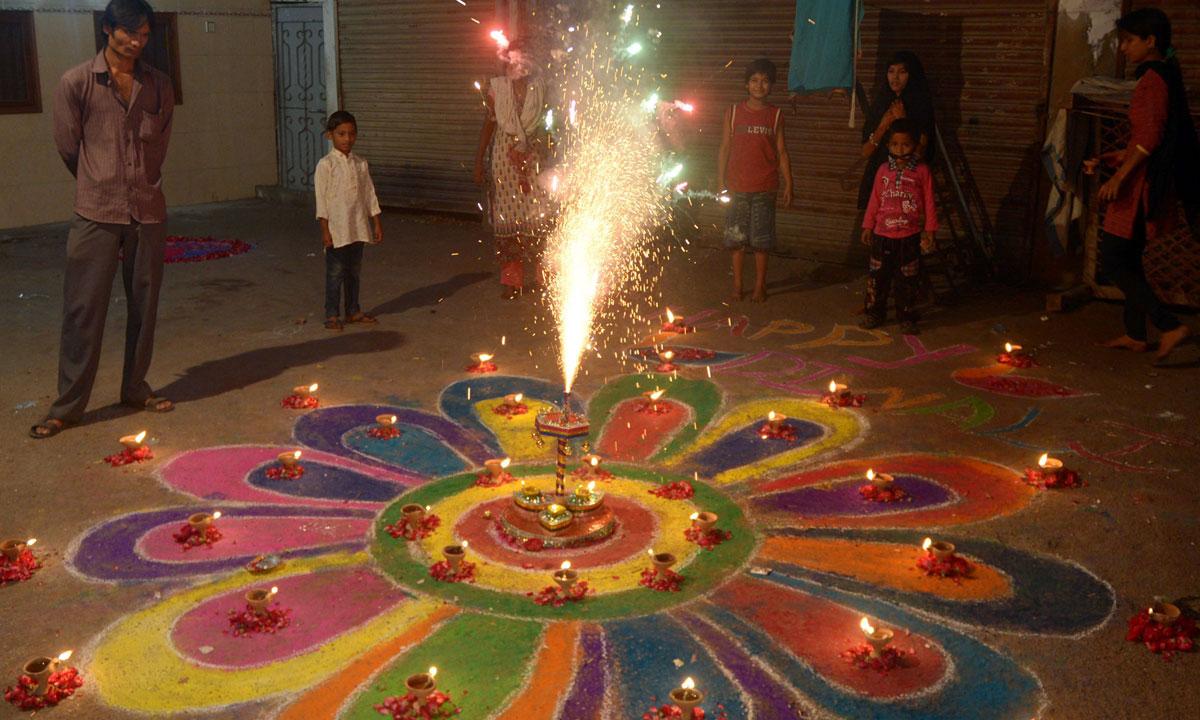 Pakistani Hindus celebrate Diwali with fireworks in Karachi. – Photo by AFP