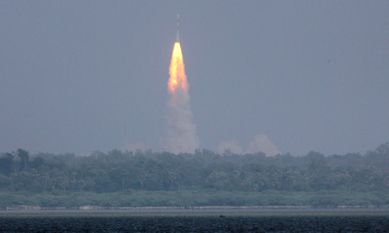 The Polar Satellite Launch Vehicle (PSLV-C25) rocket lifts off carrying India's Mars spacecraft from the east coast island of Sriharikota, India, Tuesday, Nov. 5, 2013. —AP Photo
