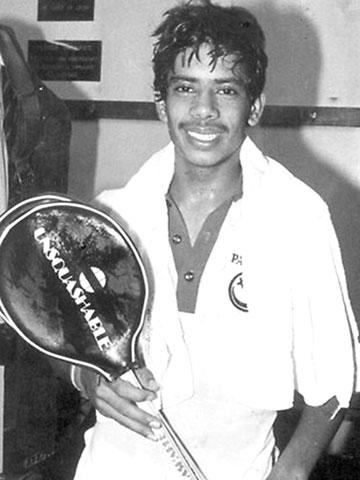 A younger Jahangir Khan as junior champion.