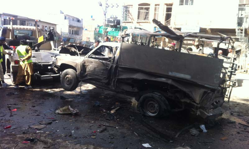 Blast near Bareech Market area of Quetta. -Photo by Syed Ali Shah