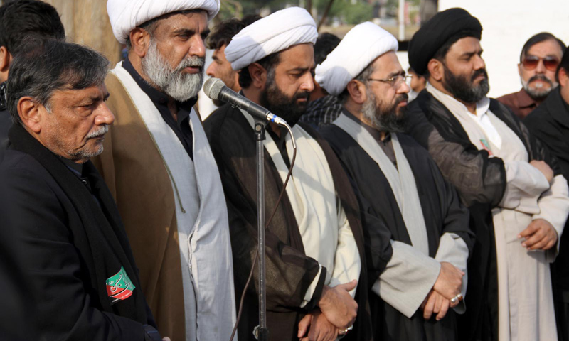 Leaders of the Majlis-i-Wahdat-i-Muslimeen address demonstrators outside an imambargah in Islamabad.—Online Photo