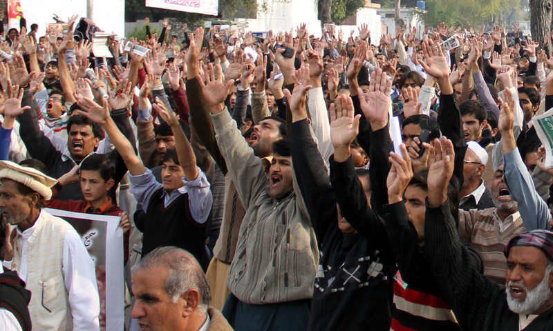 Protesters demonstrate in Islamabad.—Online Photo