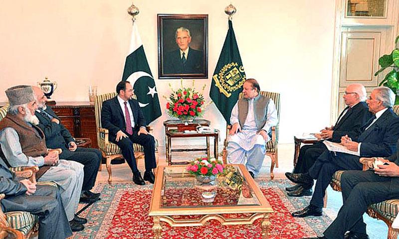 Delegation of the Afghan High Peace Council, headed by its chairman Salahuddin Rabbani, call on Prime Minister Nawaz Sharif on November 21, 2013.—APP Photo