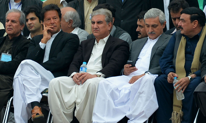 PTI leaders attend protest rally in Peshawar on November 23, 2013.—AFP Photo
