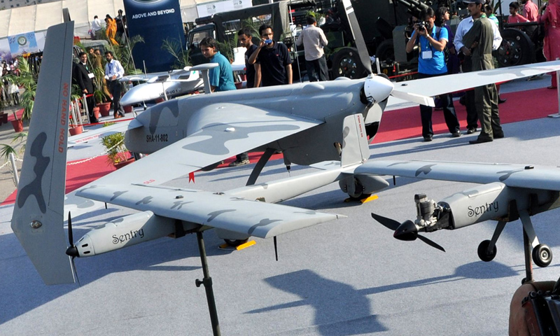 The Shahpar drone, shown here in this photo from the International Defence Exhibition (IDEAS) in Karachi, Pakistan on Nov 15, 2012.—AP/File Photo