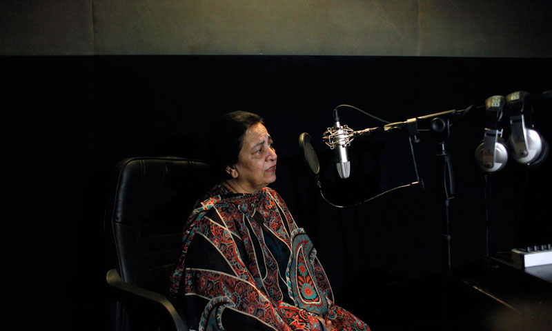 Pakistani actress Tasneem Ansari speaks during voiceover recording on a Turkish drama serial. — Photo by AP
