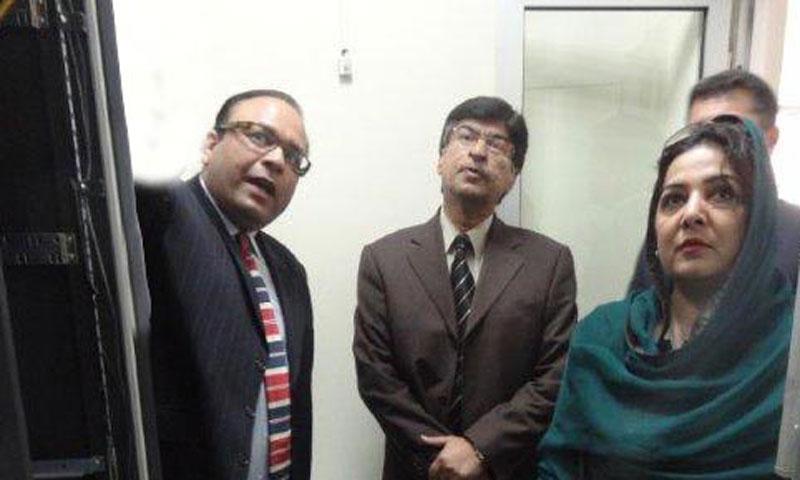 IT Minister Anusha Rehman (R) visits site of fiber optic route in Chirah-Lehtrar-Kotli Sattian on Thursday. – INP Photo