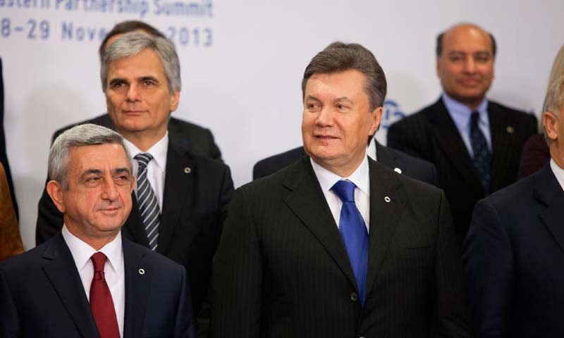 Ukrainian President Viktor Yanukovich (C) stands during a family picture at the EU Eastern Partnership Summit in Vilnius in this picture provided by eu2013.lt.  -Reuters Photo