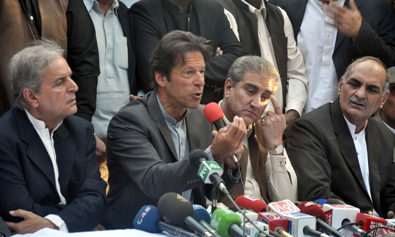 Pakistan Tehreek-i-Insaf chairman Imran Khan addresses media persons during a press conference at Zaman Park in Lahore. — Photo by PPI