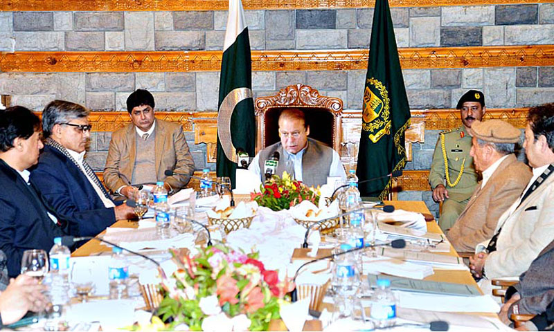 Prime Minister Nawaz Sharif chairing budget session of Gilgit-Baltistan Council. — Photo by APP