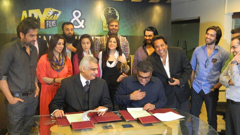 Salman Iqbal, President ARY DIgital Network and Hassan Rana, CEO Mind Works Media, signing the joint venture MOU at the occasion. - Courtesy Photo