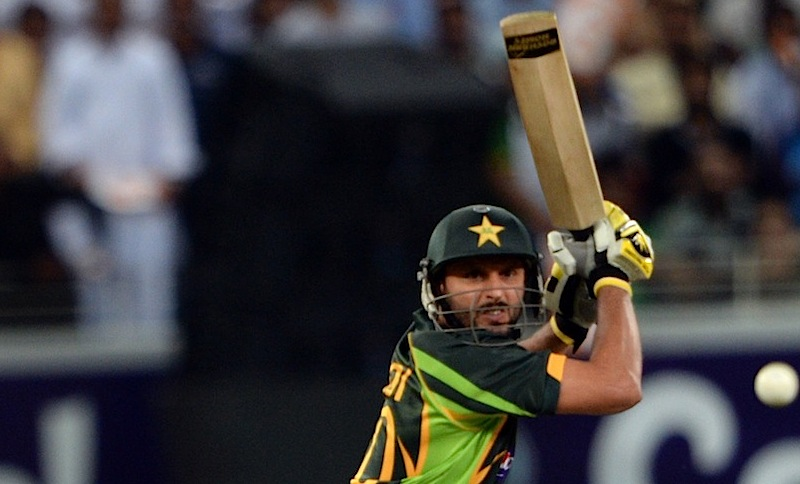 In all Afridi hit three sixes and two boundaries to help Pakistan overcome a tough challenge from world number one Sri Lanka. -Photo by AFP