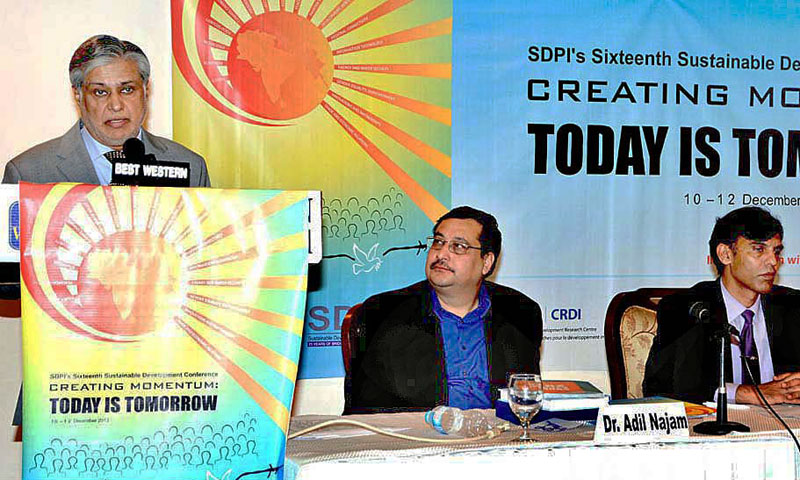 Federal Minister for Finance Ishaq Dar is addressing the 16th SDPI conference in Islamabad on Thursday. – APP Photo