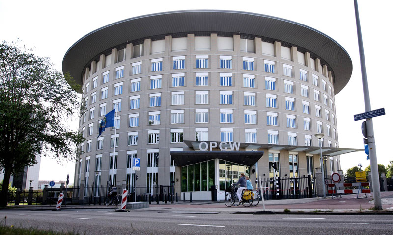 A photo shows a general view of the headquarters of the Organisation for the Prohibition of Chemical Weapons (OPCW) in The Hague, The Netherlands. The world's chemical watchdog was meeting on December 17, 2013 to agree exactly how Syria's arsenal will be destroyed outside the country. — File photo by AFP