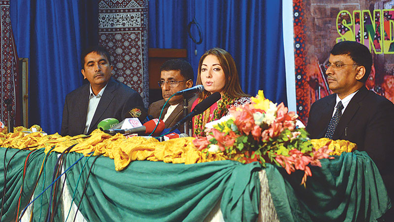 Adviser to the chief minister on culture Sharmila Faruqi speaks at the press conference at the culture department on Tuesday announcing the details of Sindh Festival events. – Photo by White Star