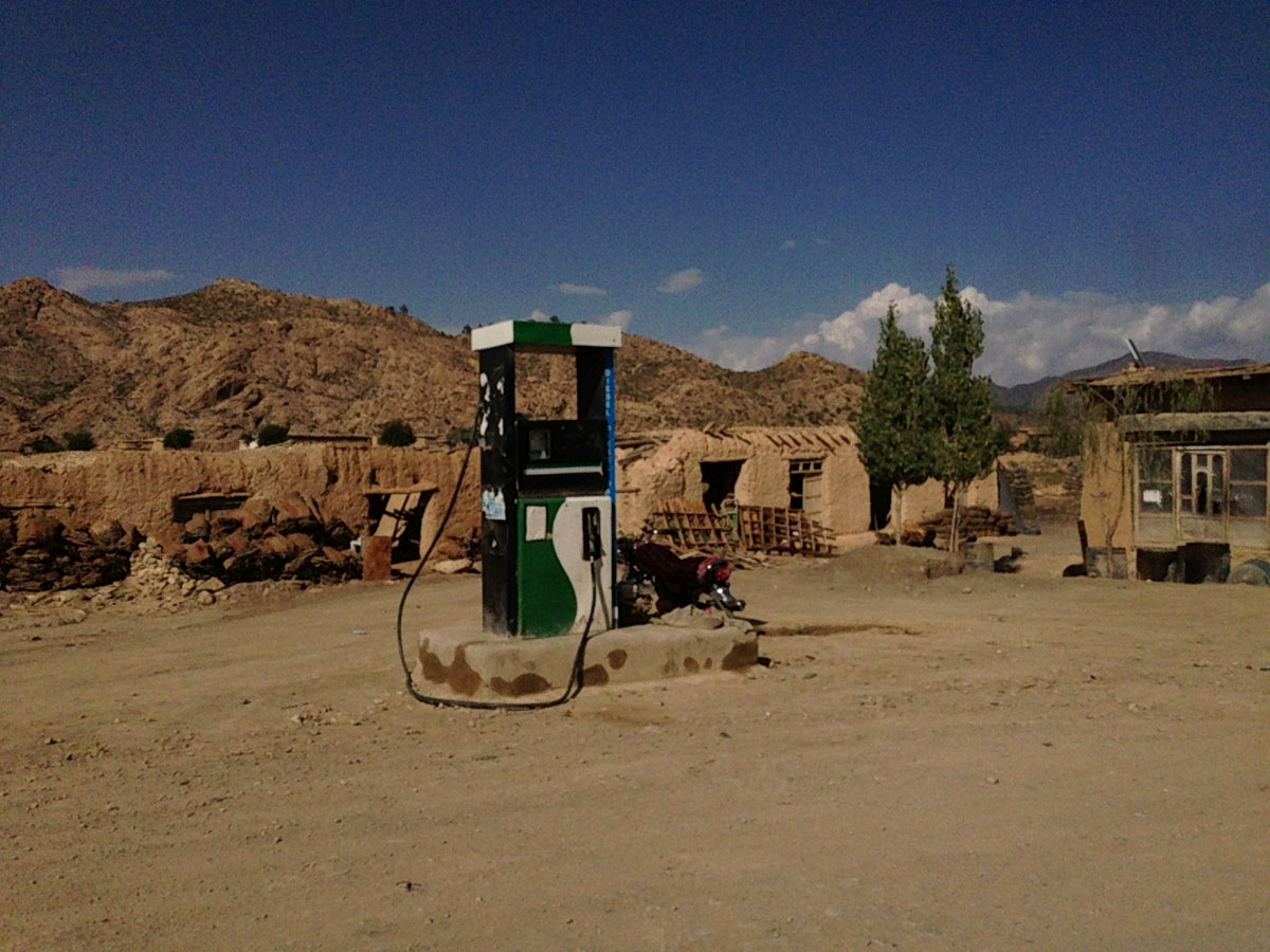 THE LAST GAS STATION ON EARTH: Less than a mile from the Durand Line, this sole petrol pump in Angoor Adda, South Waziristan, has been both a crucial lifeline for the local transport as well as the sight of several gunfights. Disagreement over priority access between armed groups, especially when supplies are low, has often resulted in violence. The station pumps all sorts of fuel: legal petrol from Pakistan, and the not-so-legal supply that comes from across the border, even Iran.