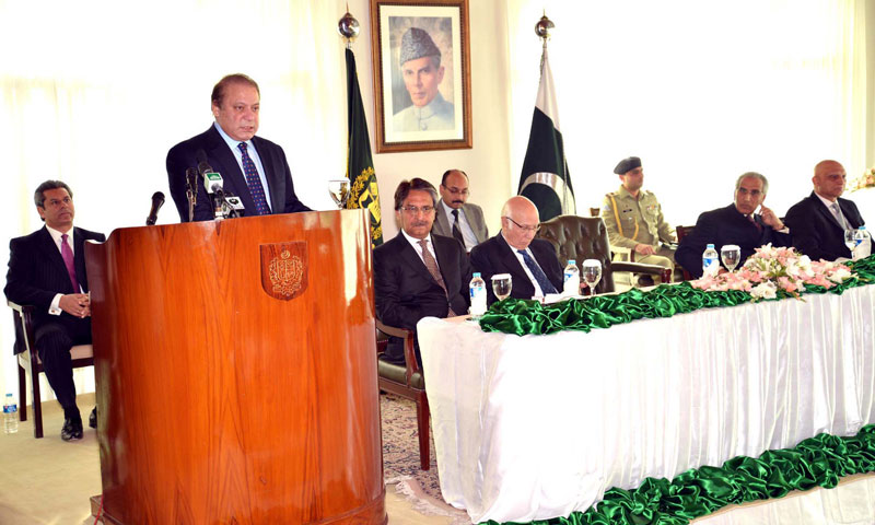 Prime Minister Nawaz Sharif addressing a gathering at the newly inaugurated Sahibzada Yaqoob Khan Block during a ceremony at the Foreign Office in Islamabad on Friday. — Photo by PPI