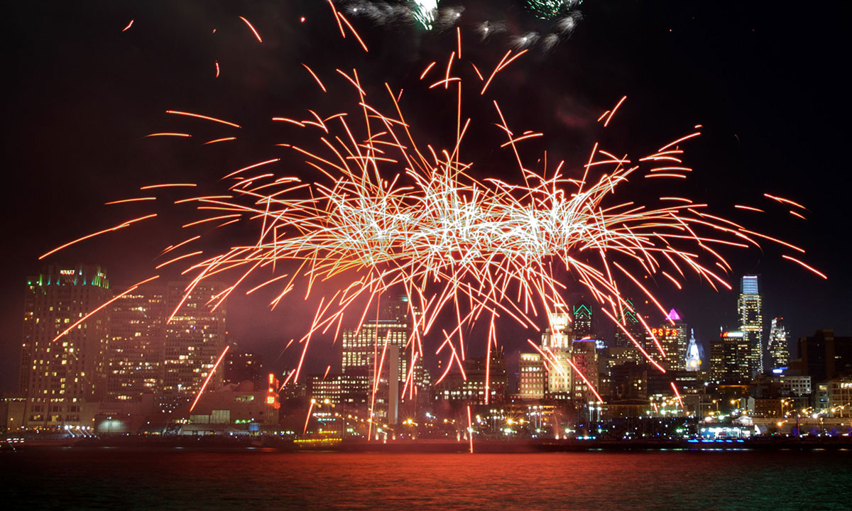 Fireworks explode above the Philadelphia city skyline as part of New Year's celebrations on January 1, 2014. – Photo by AFP
