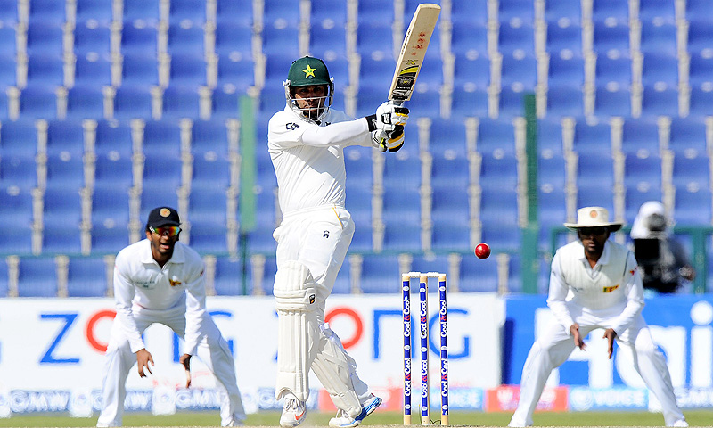 Mohammad Hafeez pulls en route his knock of 80. -Photo by AFP