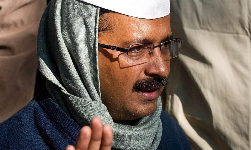 In this photograph taken on December 14, 2013 India's Aam Aadmi Party (AAP) leader Arvind Kejriwal addresses the media after meeting Delhi's lieutenant governor in New Delhi. – AFP