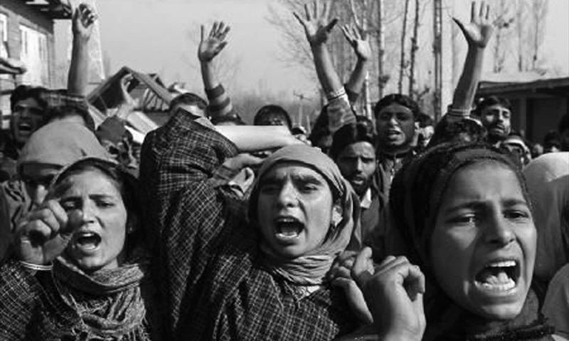 Women protest against the Indian army, accused of killing a Kashmiri Muslim villager.  — Reuters
