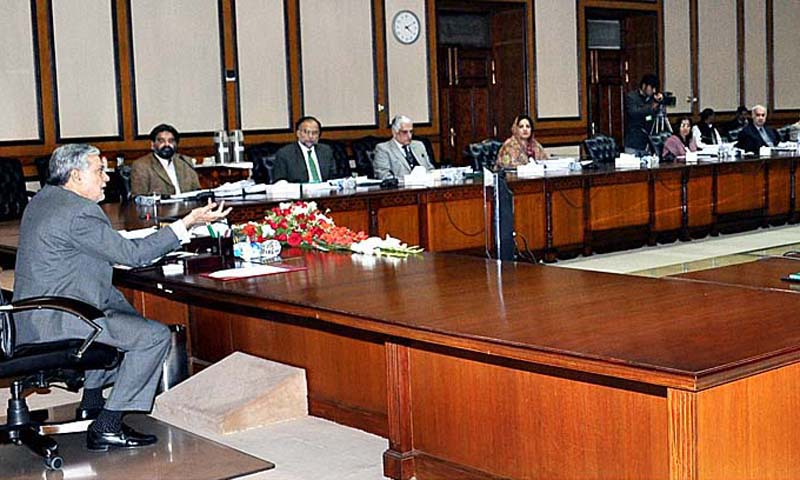 Federal Minister for Finance, Senator Ishaq Dar chairing ECC meeting of the Cabinet. — Photo by APP