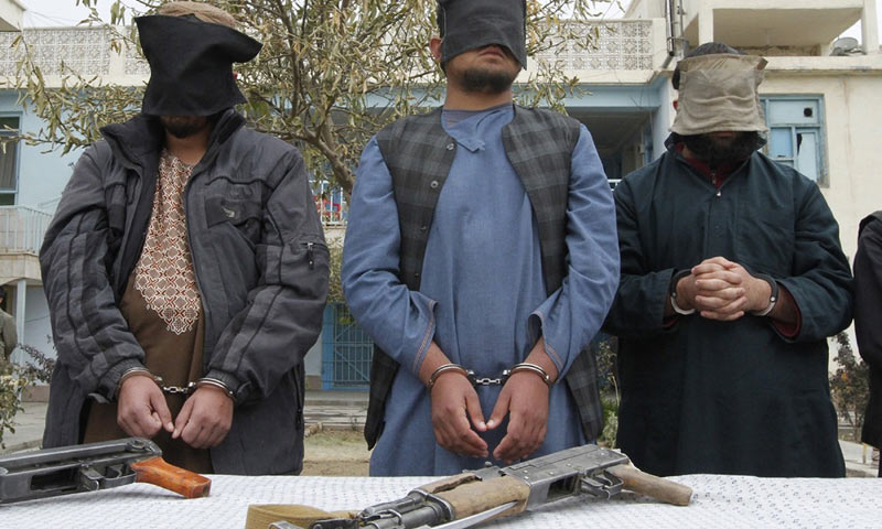 Captured Taliban insurgents are presented to the media in Kandahar province. -Reuters/File Photo