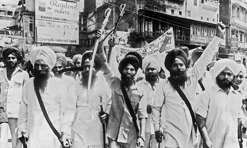 In this file picture taken on April 16, 1984 Sikh militants march in the streets of Amritsar, Punjab. -AFP Photo