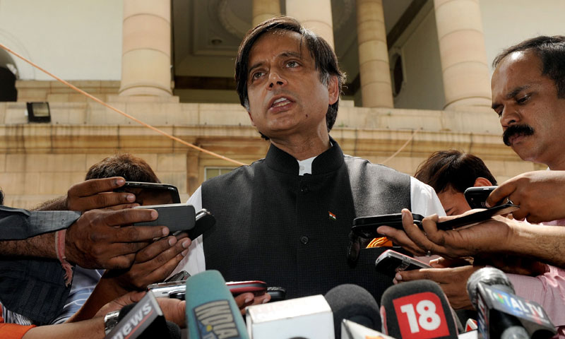 In this file photo, Shashi Tharoor, the then-Indian Junior Foreign Minister, addresses the media at parliament house in New Delhi. — Photo by AFP
