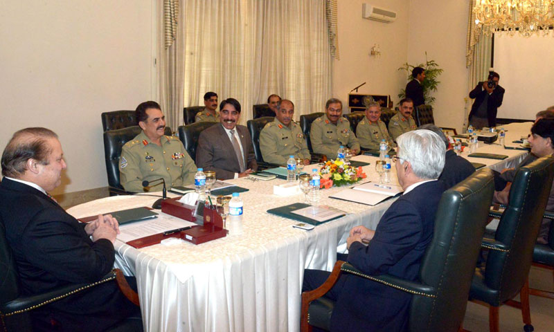 Photo shows Prime Minister Nawaz Sharif chairing a high-level meeting at the Prime Minister house in Islamabad on Thursday, January 23, 2014.—Photo by APP