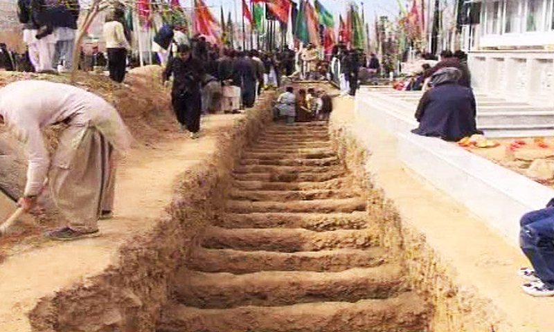 Mass grave being dug for the Mastung incident victims. -Photo by author