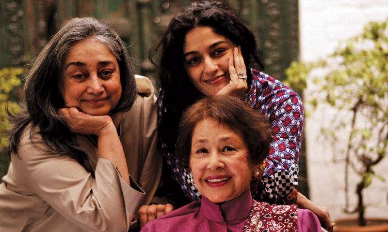 Nadia with her mother Nuscie (L) and Bapsi Sidhwa.