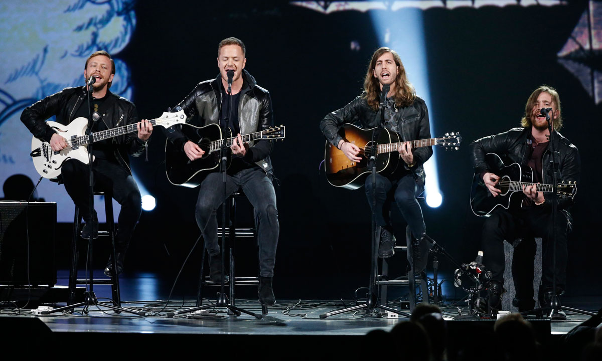"Imagine Dragons performs during the taping of ""The Night That Changed America: A Grammy Salute to The Beatles"", in Los Angeles on January 27. – Photo by Reuters"