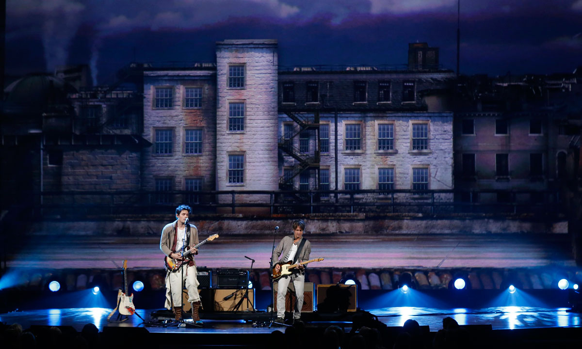 "John Mayer (Left) and Keith Urban perform during the taping of ""The Night That Changed America: A Grammy Salute to The Beatles"", in Los Angeles on January 27. – Photo by Reuters"