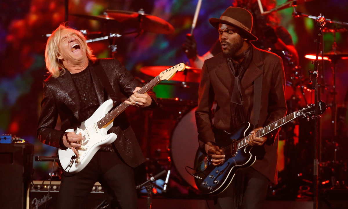 "Joe Walsh (Left) and Gary Clark Jr. perform during the taping of ""The Night That Changed America: A Grammy Salute to The Beatles"", in Los Angeles January 27. – Photo by Reuters"