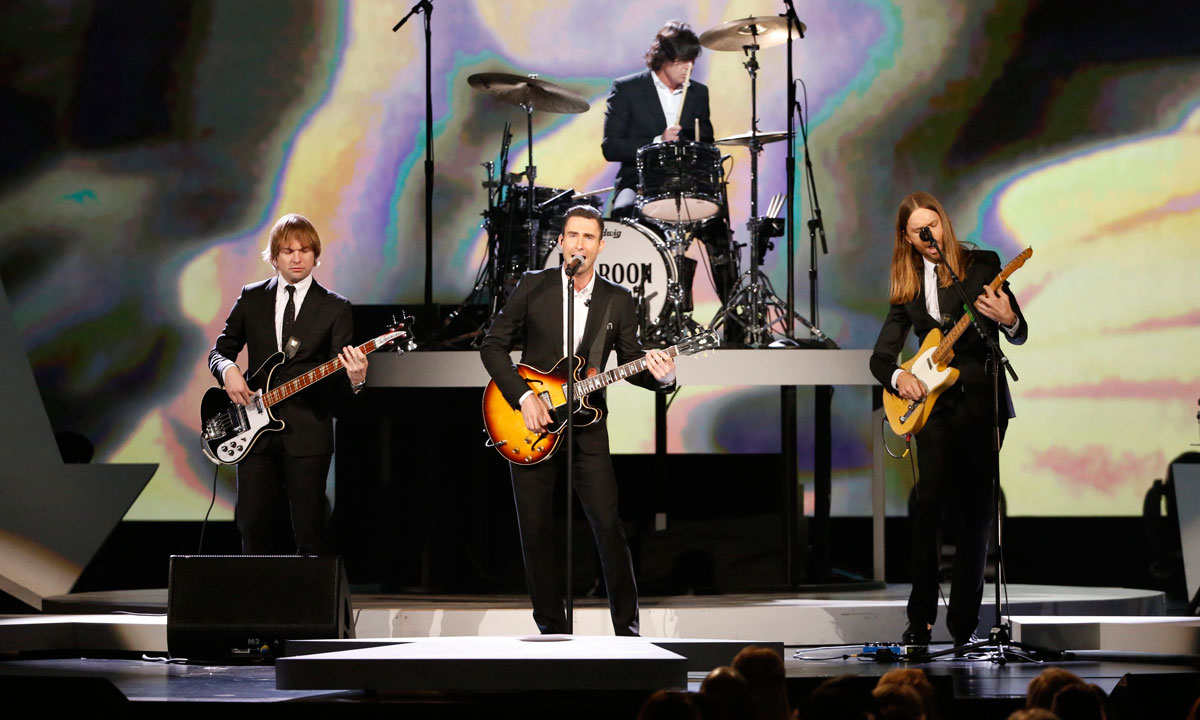 "Adam Levine (Centre) and the Maroon 5 perform during the taping of ""The Night That Changed America: A Grammy Salute to The Beatles"" in Los Angeles on January 27. – Photo by Reuters"