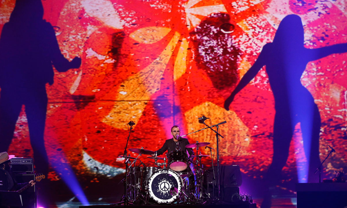 "Ringo Star performs during the taping of ""The Night That Changed America: A Grammy Salute to The Beatles"", in Los Angeles on January 27. – Photo by Reuters"