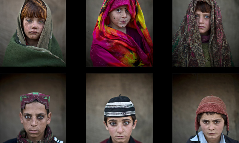 This combination of six images shows Afghan refugee children in a slum on the outskirts of Islamabad, Pakistan.— Photo by AP