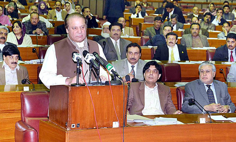 Prime Minister Nawaz Sharif addressing the National Assembly session in Islamabad on Wednesday. – APP Photo