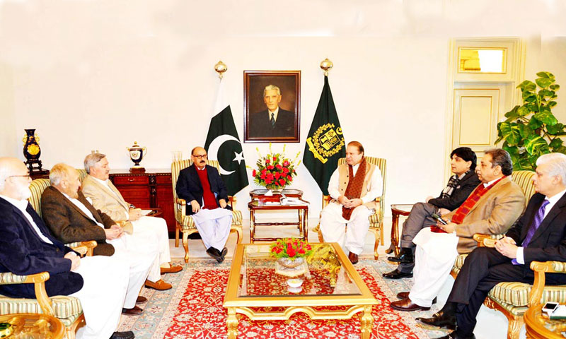 Prime Minister Nawaz Sharif having a meeting with a four-member team at the Prime Minister House. The meeting was also attended by Interior Minister Chaudhry Nisar Ali Khan and Political Secretary to PM Dr Asif Kirmani. — Photo by Online