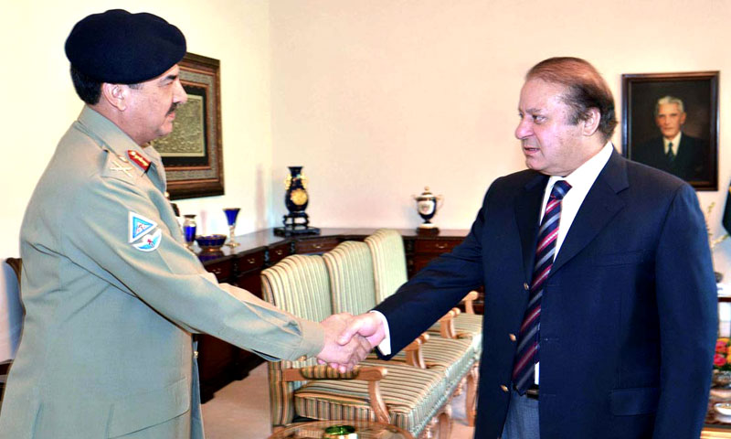 COAS Raheel Sharif in a meeting with Prime Minister Nawaz Sharif at the PM House in Islamabad.—APP/File Photo